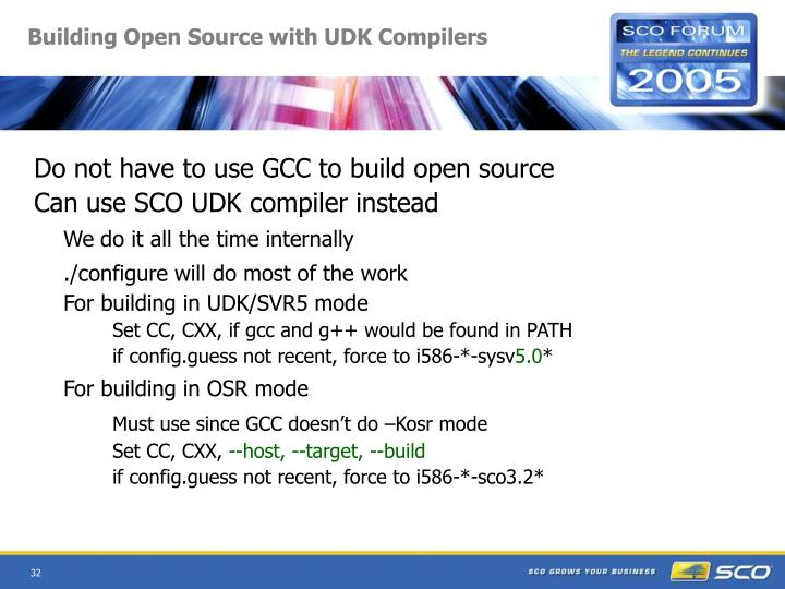 Building Open Source with UDK Compilers
