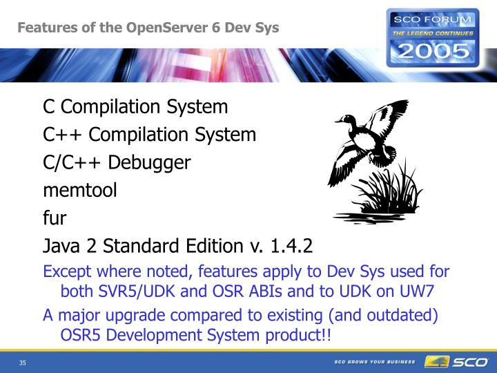 Features of the OpenServer 6 Dev Sys