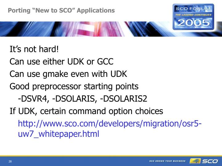 """Porting """"New to SCO"""" Applications"""