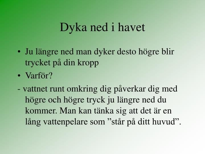 Dyka ned i havet