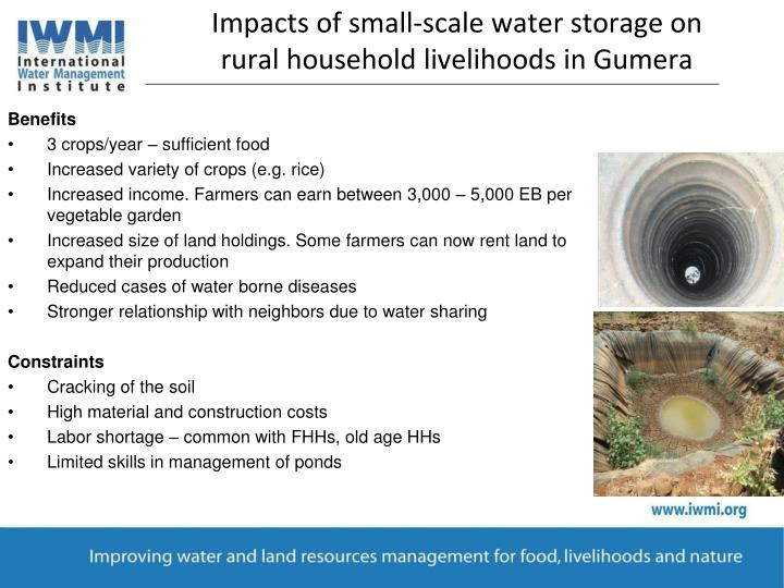 Impacts of small-scale water storage on