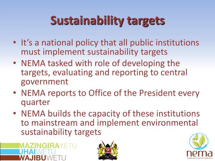 Sustainability targets