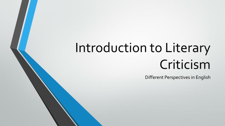 introduction to literary criticism n.