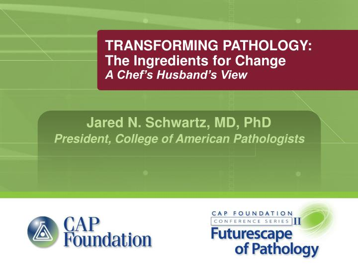 transforming pathology the ingredients for change a chef s husband s view n.