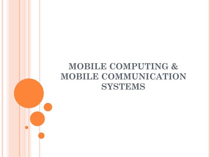 mobile computing mobile communication systems n.