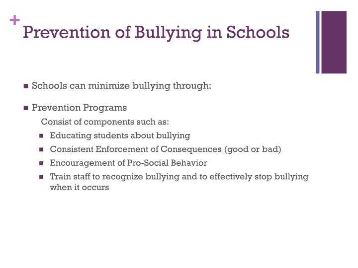 Prevention of Bullying in Schools