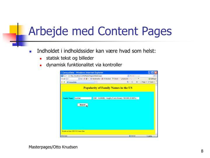 Arbejde med Content Pages