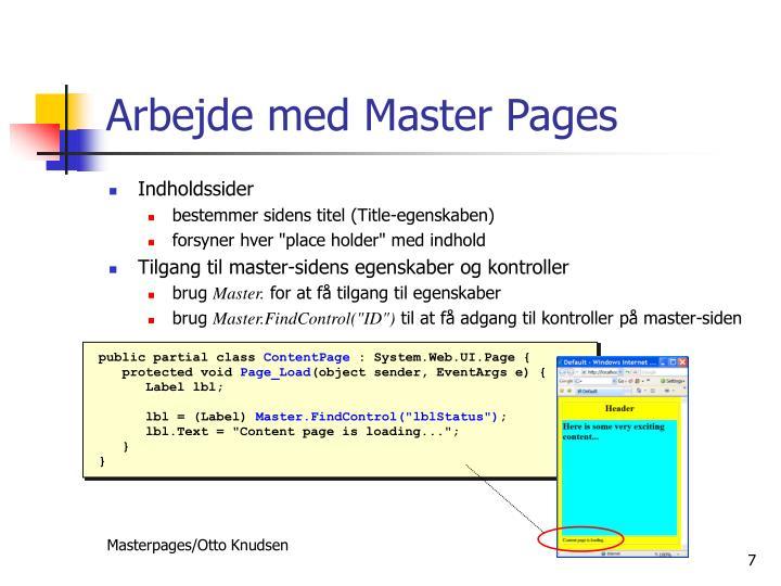Arbejde med Master Pages