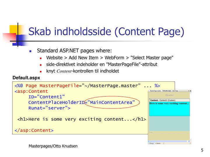 Skab indholdsside (Content Page)