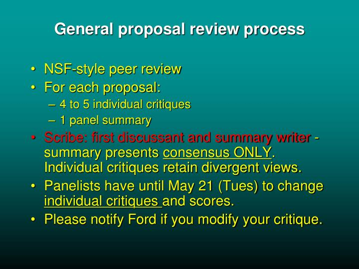 General proposal review process