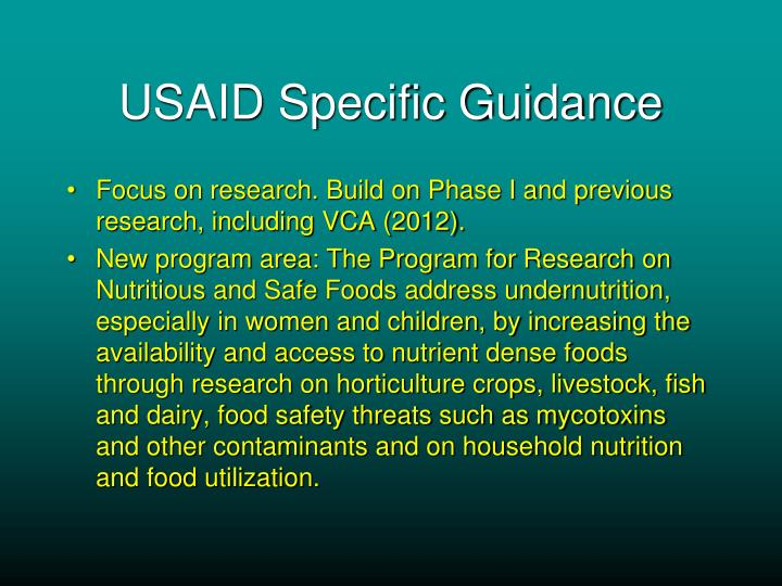 USAID Specific Guidance