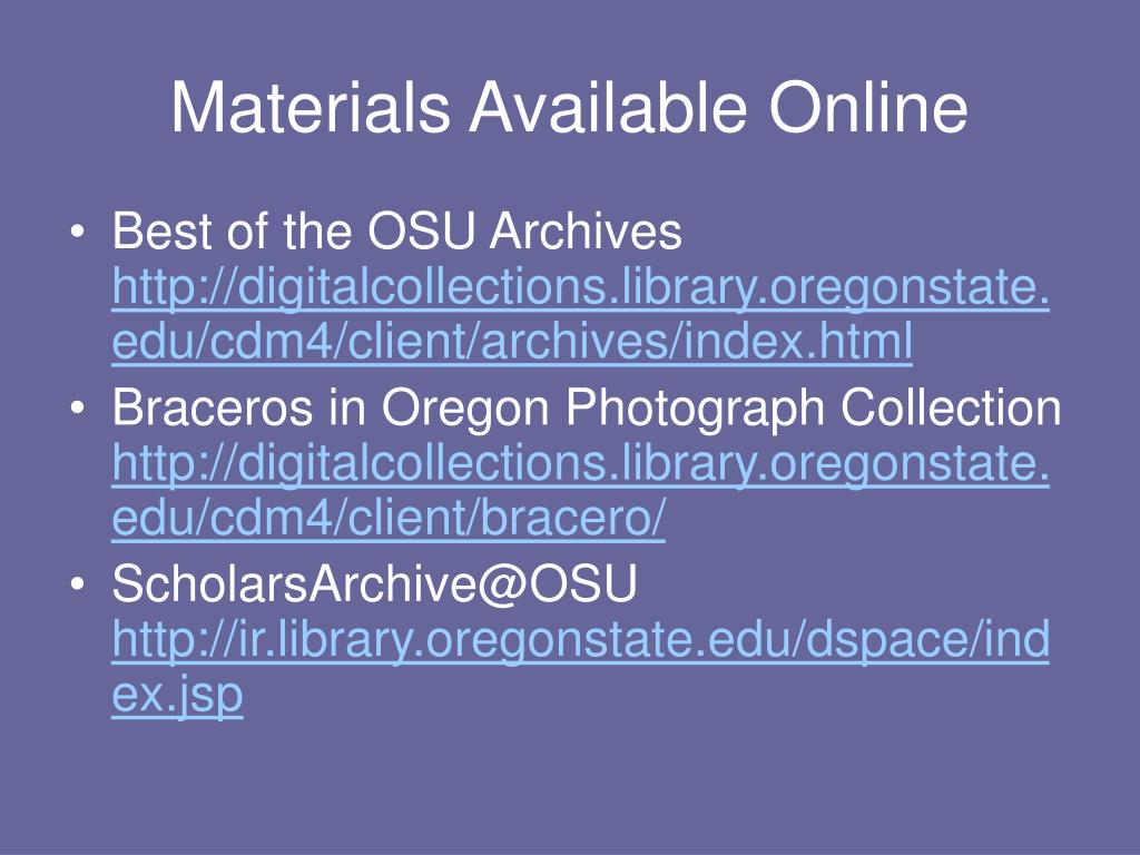 PPT - OSU Archives' Historical Collections PowerPoint