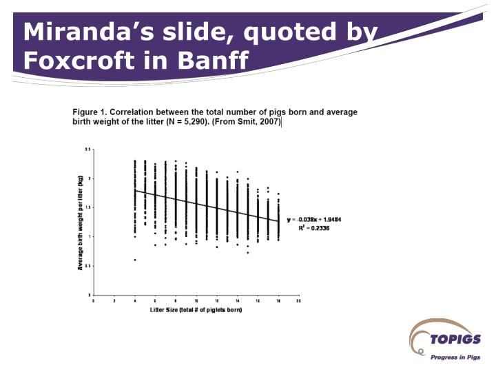 Miranda's slide, quoted by Foxcroft in Banff