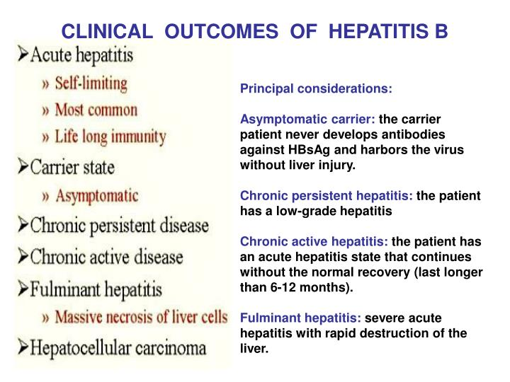 CLINICAL  OUTCOMES  OF  HEPATITIS B