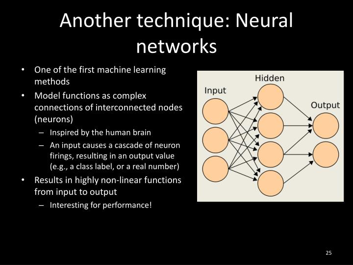 Another technique: Neural networks