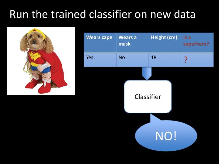Run the trained classifier on new data