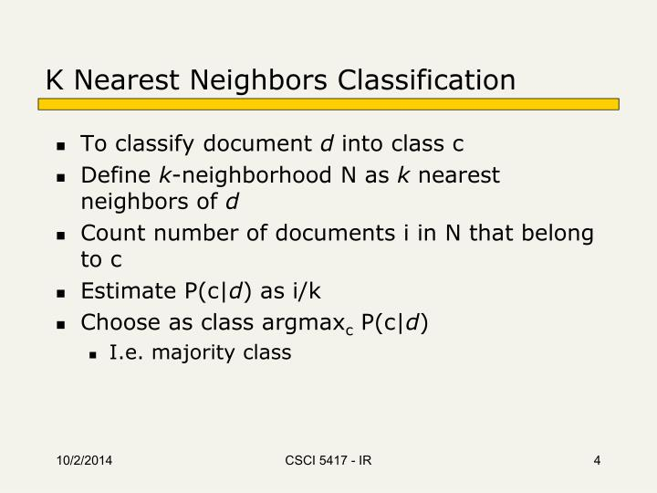 K Nearest Neighbors Classification