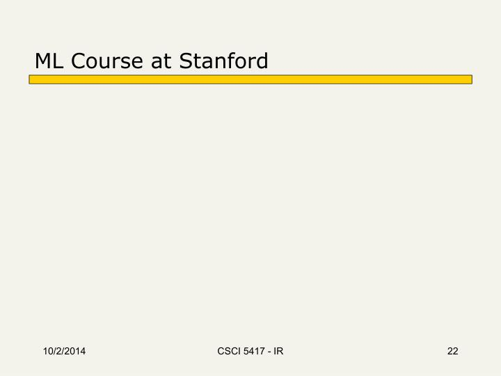 ML Course at Stanford
