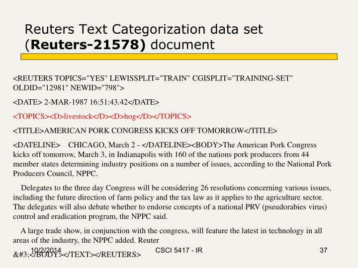 Reuters Text Categorization data set (
