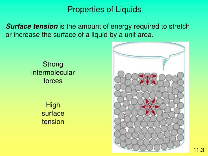 surface tension property of liquids Surface tension is measured as the energy required to increase the surface area of a liquid by a unit of area the surface tension of a liquid results from an imbalance of intermolecular attractive forces, the cohesive forces between molecules.