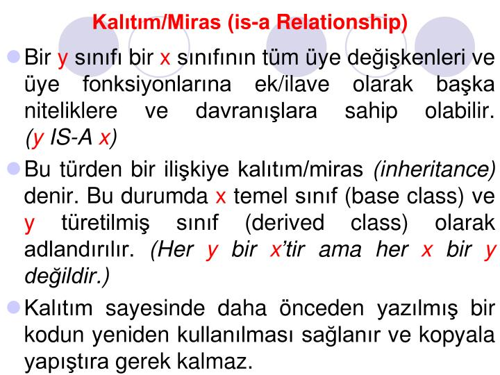 Kalıtım/Miras (is-a