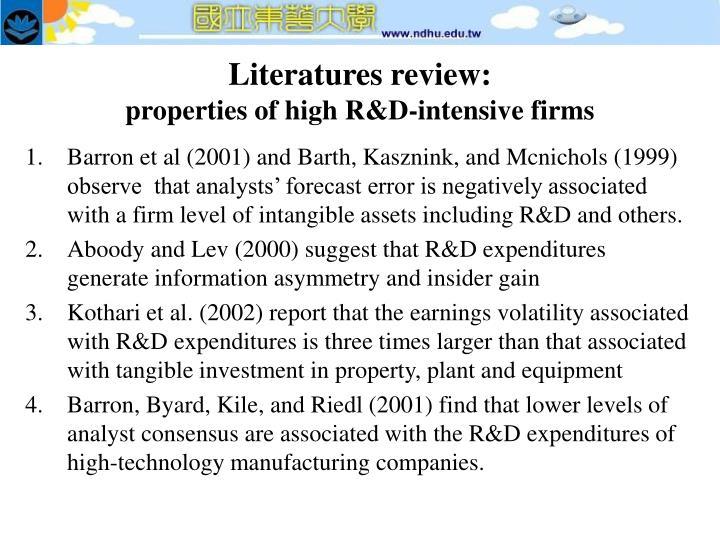 Literatures review properties of high r d intensive firms