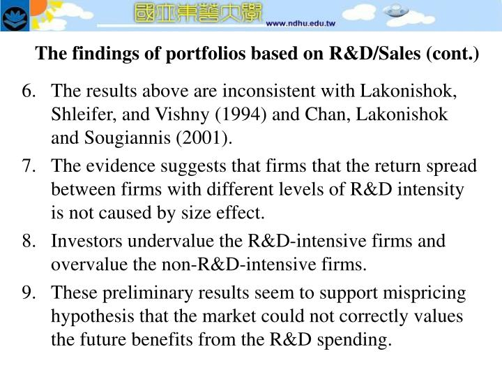 The findings of portfolios based on R&D/Sales (cont.)