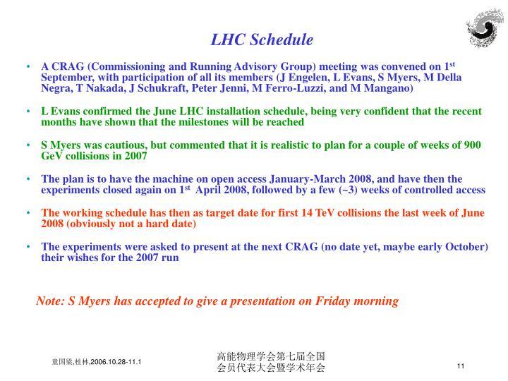 LHC Schedule