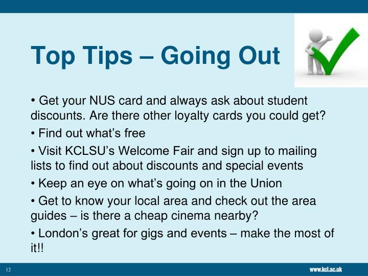 Top Tips – Going Out