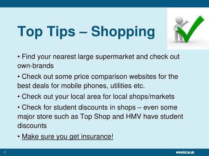 Top Tips – Shopping