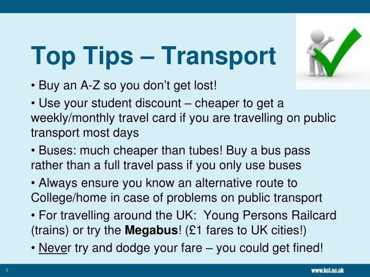 Top Tips – Transport