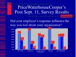 pricewaterhousecooper s post sept 11 survey results