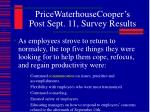 pricewaterhousecooper s post sept 11 survey results1