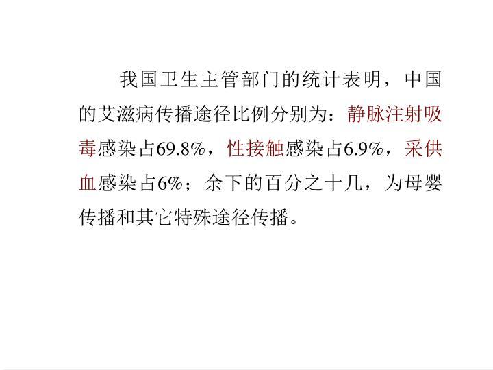 我国卫生主管部门的统计表明,中国的艾滋病传播途径比例分别为: