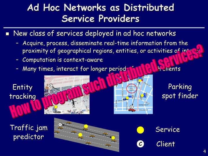 Ad Hoc Networks as Distributed Service Providers