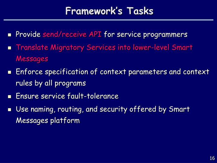 Framework's Tasks