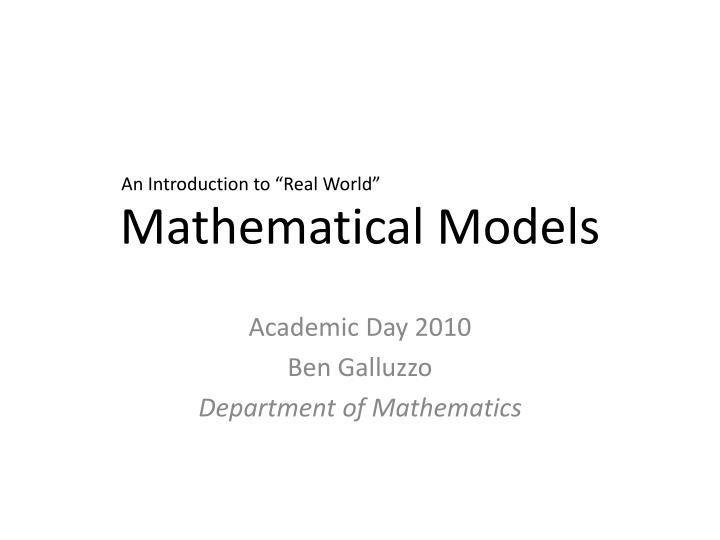 mathematical models n.