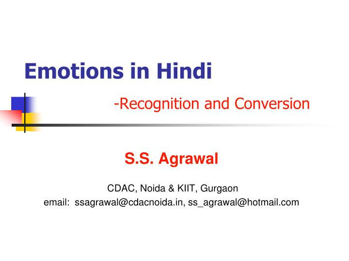 emotions in hindi recognition and conversion n.