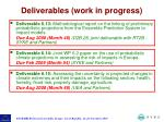 deliverables work in progress