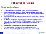 follow up to helsinki