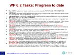 wp 6 2 tasks progress to date