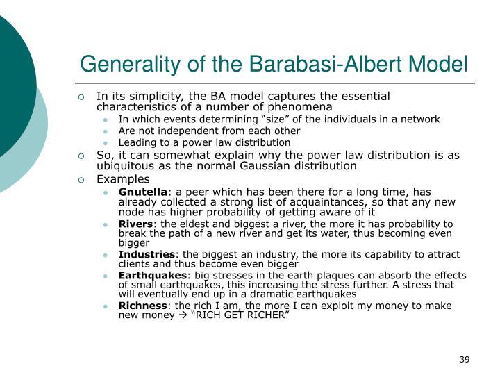 Generality of the Barabasi-Albert Model