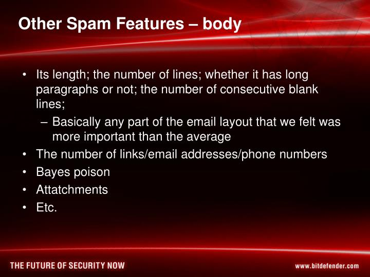 Other Spam Features – body