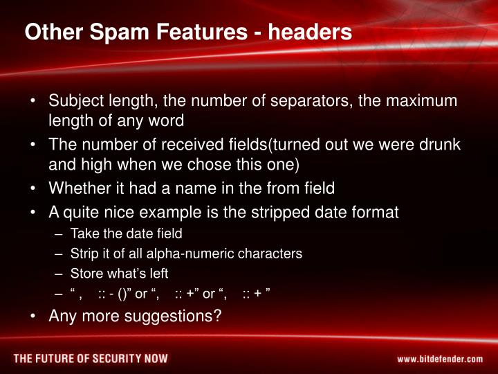 Other Spam Features - headers