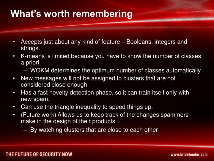 What's worth remembering