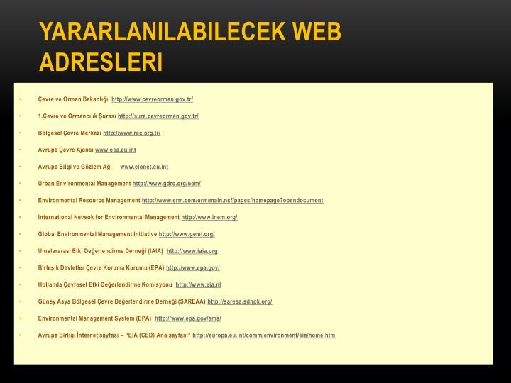 Yararlanılabilecek WEB Adresleri