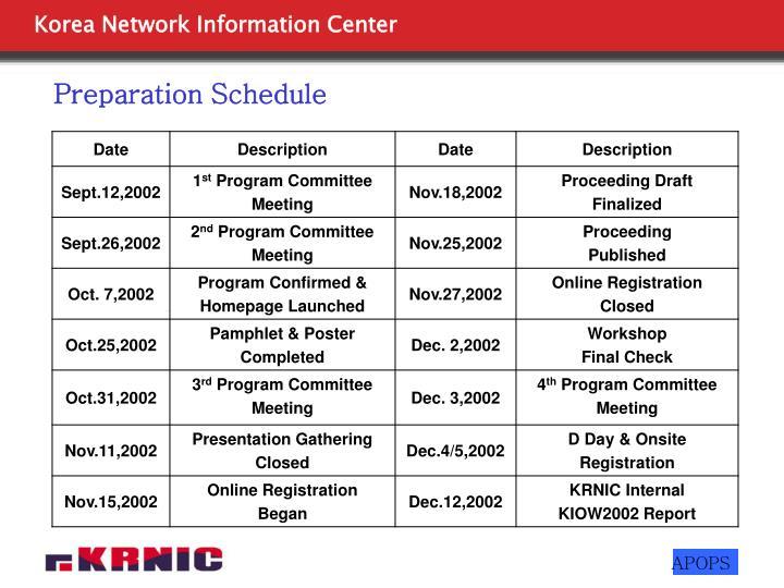 Preparation Schedule