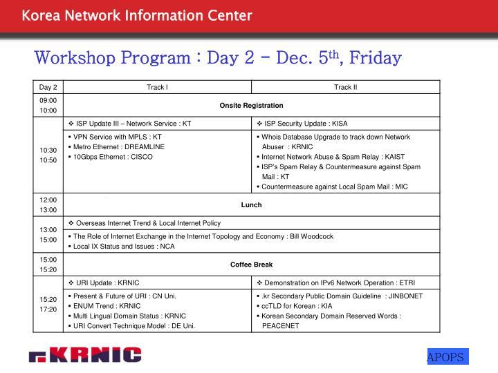 Workshop Program : Day 2 - Dec. 5