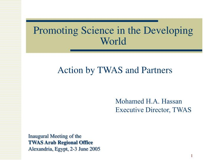 promoting science in the developing world n.