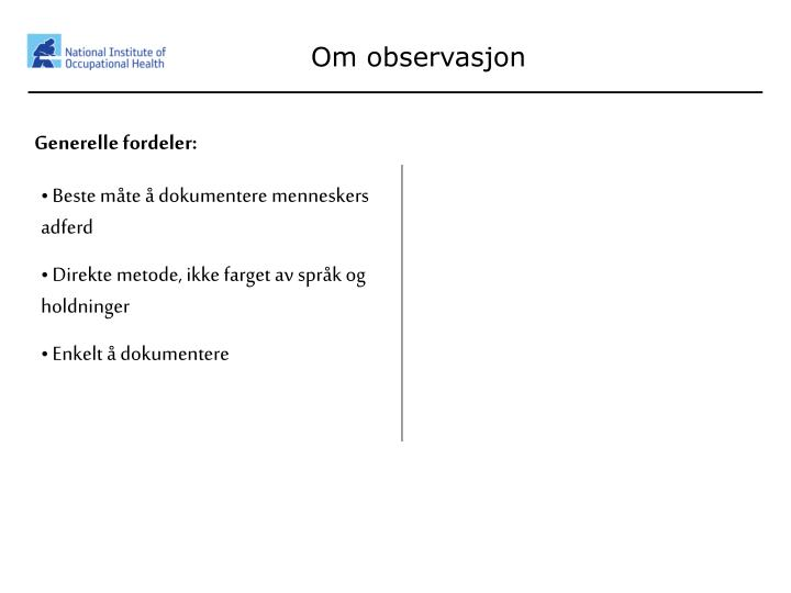 Om observasjon